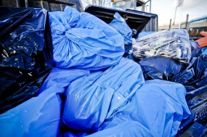 Bags of commercial waste